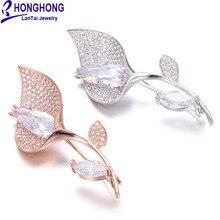 Honghong кубический цирконий цветок броши булавки для женщин высокого качества брошь с растительными мотивами свадебное платье модные ювелирные изделия аксессуары