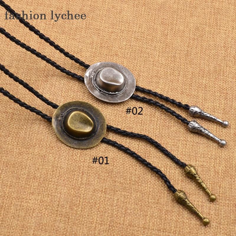 fashion lychee Vintage Indian Cap Shape Sythentic Leather Belt Bolo Necktie Necklace Western Cowboy Bola Tie Men Jewley Gift