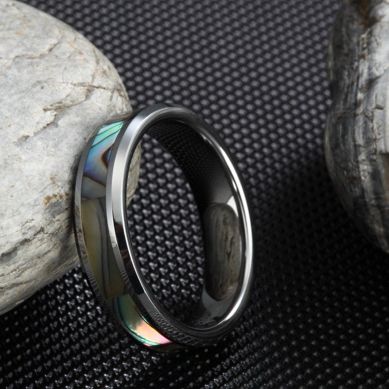 6mm Shell Women Rings Designer Markë Bizhuteri Polifonike Tungsten Carbide Abalone Shell Inlay Angazhimi Unaza e Grave Dasma