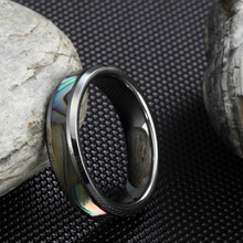 6MM Tungsten Carbide Ring Engagement Wedding Band Abalone Shell Inlay Polished Finish Step Edges