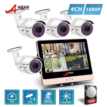 ANRAN 4CH 1080P 12 Inch LCD Monitor POE NVR Security System 36 IR Day Night Outdoor CCTV POE IP Camera Outdoor With HDD Optional