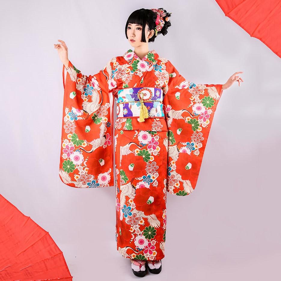 Japanese Style Women Kimono Yukata Bathrobe Vintage Improved 10pcs Cosplay Costumes Elegant Female Costume Geisha Long Robe Gown