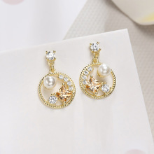 Color zirconium ear nail s925 pure silver light luxury senior jewelry color with pearl