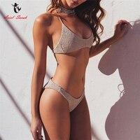Ariel Sarah Brand 2017 Solid Bathing Suit Women Halter Bikini Set Sexy Bdange Bikini Swimsuit Swimwear