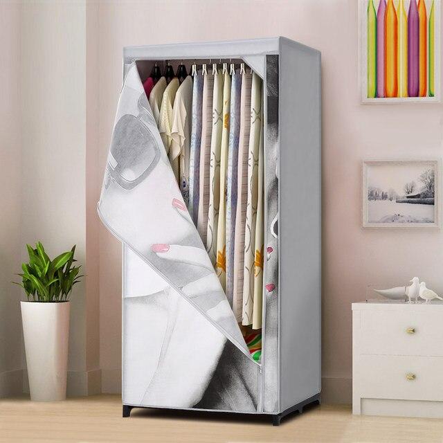 IKayaa US Stock Cloth Storage Wardrobe Fabric Closet Wardrobe Garment  Clothing Storage Organizer Clothes Rack With Shelves