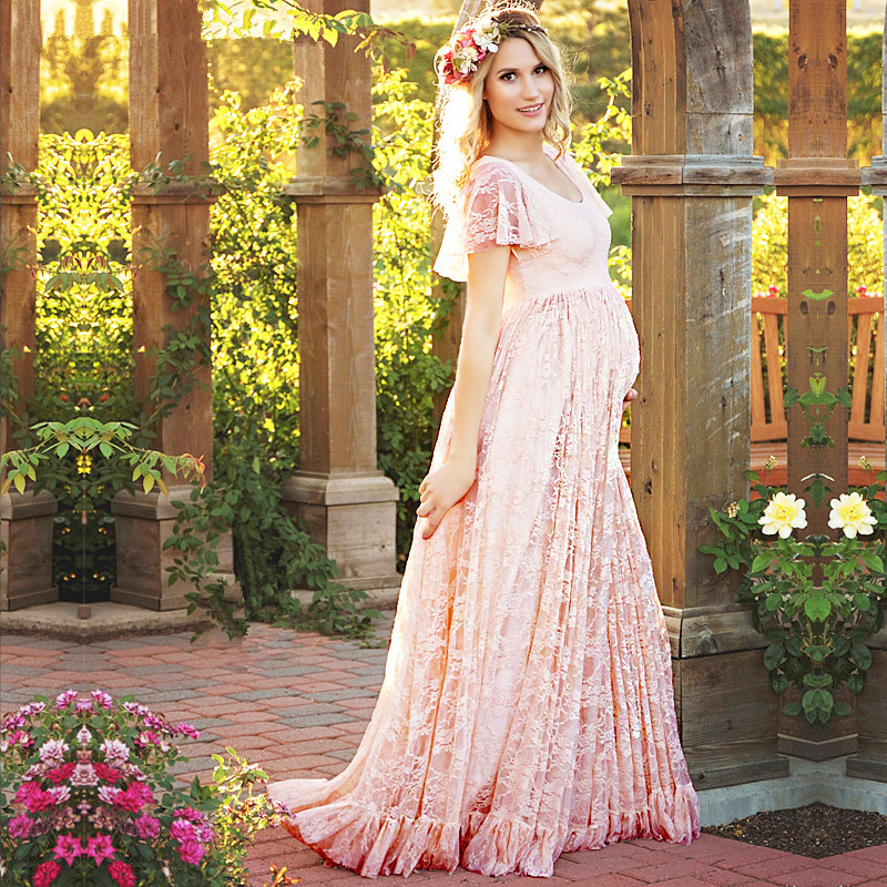 New White Pink Maternity Dress Pregnancy Photo Props Shoot Pregnant Women Lady Elegant Vestidos Lace Party Formal Evening Dress