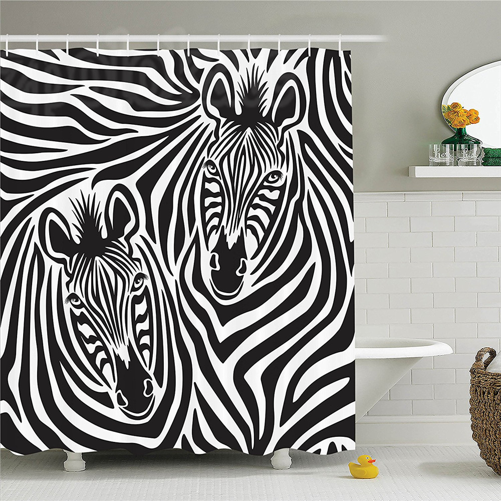 Safari Decor Shower Curtain Set Couple Of Zebras Eyes Face Heads Closeup Image Pattern Artistic Design Decorative Art Bathroom