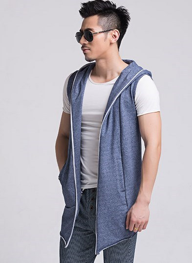 Korean Mens Sleeveless Cardigan Outwear Spring Slim Hooded Vest Men Black Grey Blue Sleeveless Jacket Hoodie Vest Chaleco Hombre