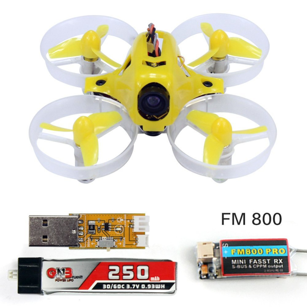Yellow Tiny6 PNP Mini Pocket FPV Racing KingKong Drone 800TVL Camera With FUTABA FASST FM800 Receiver RC Quadcopter F20006 mini 90gt pnp 4ch brushless drone fpv 800tvl camera rc racing with frsky ac800 receiver brushless kingkong quadcopter f19933