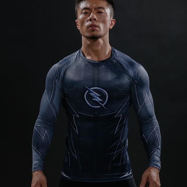0ea47e1a15a19 Zoom 3D impreso Camisetas hombres Raglan LONG SLEEVE Compression camisa  flash Cosplay traje CrossFit fitness ropa