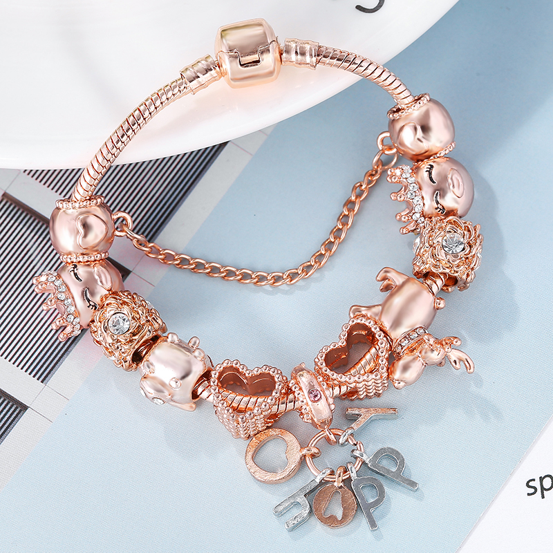 SEIALOY Rose Gold Bracelet & Bangles For Women Princess Elk Bead HAPPY Charm Brands Bracelets Fit Girl Couple Friendship Gift