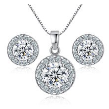 2pc Sets Pendant Necklace Stud Earring Women Wedding Jewelry Big Round Shiny AAA Zircon 2017 Fashion Silver Color Vintage Sets