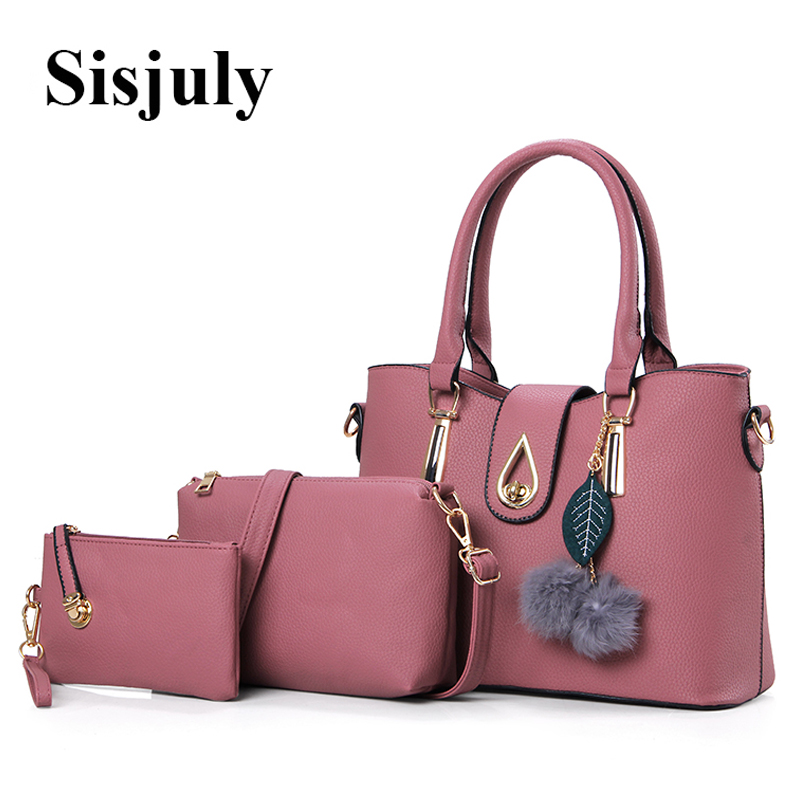 46d8cee7c7c2 3 Pcs Set Vintage Handbags Women Messenger Bags Female Purse Solid Shoulder  Bags Office Lady