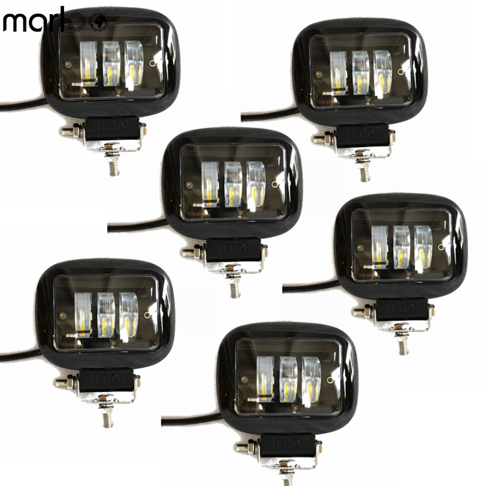 6 pc 4 Inch Round 30W White LED Off Road Light Driving Lamps Working Fog Lights