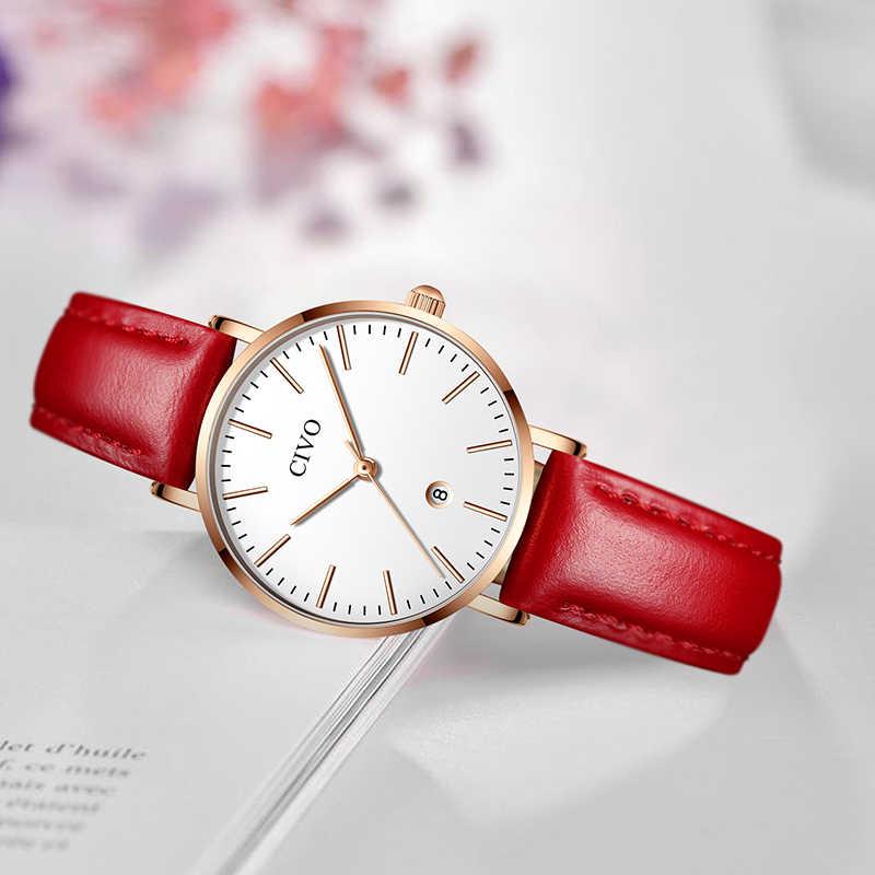 CIVO moda Ultra delgada mujer relojes de lujo superior impermeable fecha relojes rojo correa de cuero reloj Relogio femenino