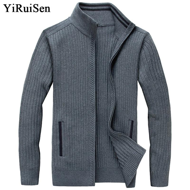 YIRUISEN Long Cardigans grande taille S-4XL épais chaud laine chandails pour hommes hiver vêtements pull avec fermeture à glissière mode manteau B006