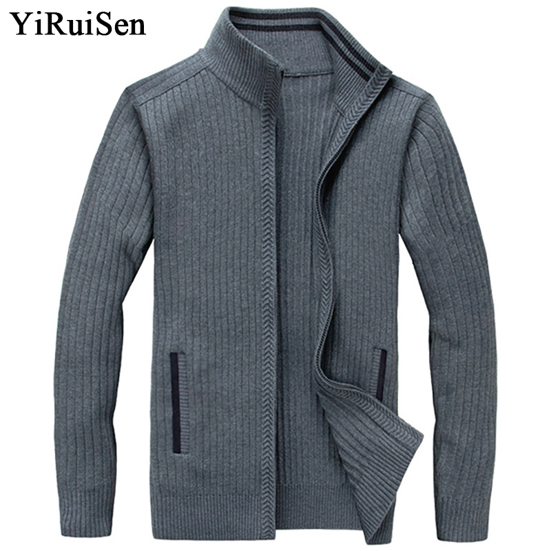 YIRUISEN Long Mens Cardigans Plus Size S-4XL Thick Warm Wool Sweaters For Men Winter Clothing Zipper Sweater Fashion Coat B006