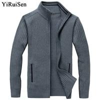 YIRUISEN Long Mens Cardigans Plus Size S 4XL Thick Warm Wool Sweaters For Men Winter Clothing Zipper Sweater Fashion Coat B006