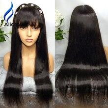 Alicrown 10A Brazilian Full Lace Wigs Brazilian Straight Hair Full Lace Human Hair Wig With Baby Hair Soft Brazilian Virgin Hair