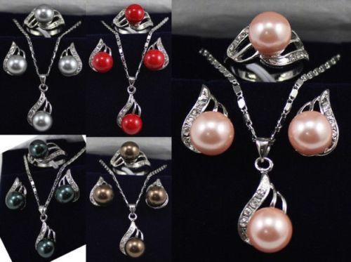 11.22 5 color 10mm черный/розовый/серый/кофе/красный перлы раковины 18KGP серьги кулон кольцо может выбрать