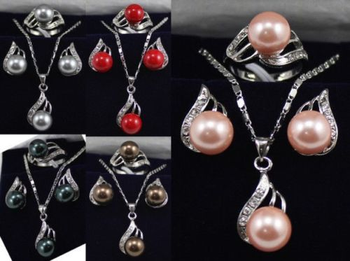 11.22 5 color 10mm black/pink/gray/coffee/red shell pearl 18KGP earrings pendant ring can choose