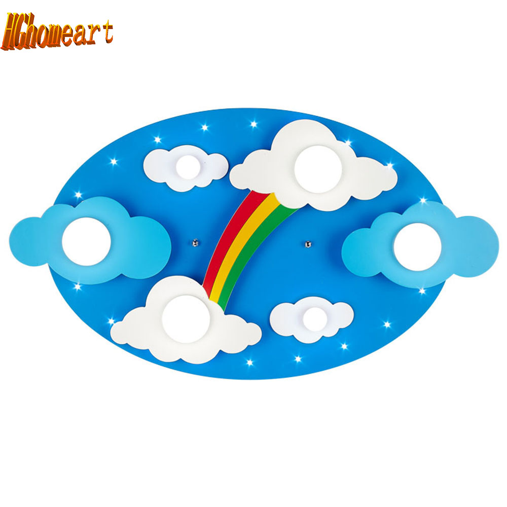 Hghomeart Surface mounted Children Ceiling lamps Kids Bedroom Cartoon Rainbow decoration Chandelier Light Source surface mounted children fan lighting ceiling lamps bedroom decoration light e27 light source honeybee decoration ceiling light