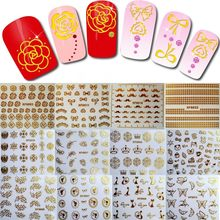 1 Sheet Gold Color(12 Styles To Choose) Nail Art Water Decals Transfer Stickers, Manicure Decor Tool Cover Nail Wrap Decal(China)