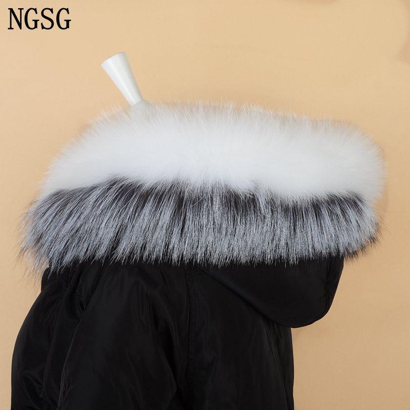 NGSG Real Fox Fur Cap Collar Adult White Fur Jacket Collars 80cm Genuine Gray Silver Fox Hooded Collar Fluffy Fur Scarf Scarves