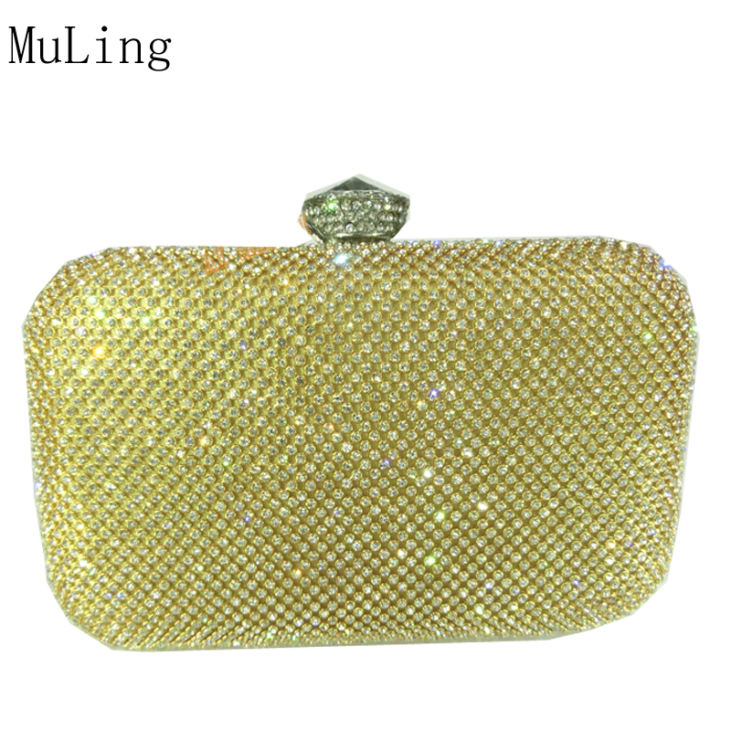 New Fashion Luxury Diamond Crystal Bling Women Evening Bag Cluth Bag Messenger Bag With Chain Party Wedding Small Handbag Gold the new 2016 limited rivet set auger handbag contracted with diamond crystal diamond bag