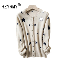 HZYRMY Spring and Autumn New Womens Cashmere Cardigan Fashion O-Neck Star pattern Loose Soft Coat Short Wool Knit Warm Sweater