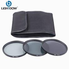 Lighthoe kit de filtro de lente nd2, conjunto de filtro de lentes nd4 nd8 3 em 1 cinza 49mm 52mm 55mm 58mm 62mm 67mm 72mm 77mm para câmera canon, nikon, sony, pentax
