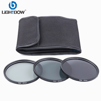 цена Lightdow 3 in 1 Gray ND2 ND4 ND8 Lens Filter Kit Set 49mm 52mm 55mm 58mm 62mm 67mm 72mm 77mm for Canon Nikon Sony Pentax  Camera онлайн в 2017 году