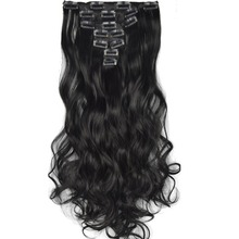 TOPREETY Heat Resistant B5 Synthetic Hair Fiber 130gr 20″ 50cm Wavy Clip in Hair Extensions 7PCS/set 90 Colors Available