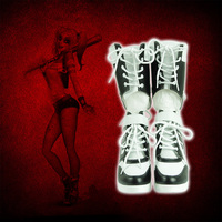 Harley Quinn Boots Women High Heel Shoes Clown Cosplay Boots For Party Halloween