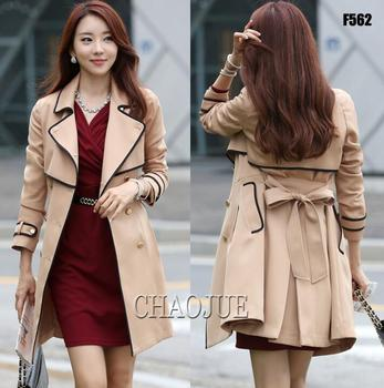 Spring fashion belt medium-long trench coat for women overcoat clothing female casaco sobretudo feminino elegant beige S - 4XL