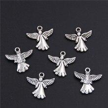 40 Uds antiguos encantos de Angel de plata colgantes de cuentas para fabricación de joyería DIY hecho a mano A221