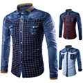 2016 New Arrival Denim Plaid Shirt Men 100% Cotton Long Sleeve  Men Shirts High Quality Plus Size Jeans Shirt Men Free Shipping