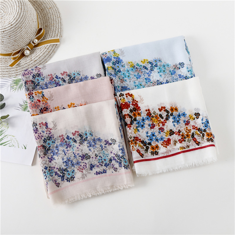 2018 Fashion Flower Blossom Print Fringe Scarves And Shawl Women Cotton Voile Floral Print Scarf Wrap Hijab Free Shipping