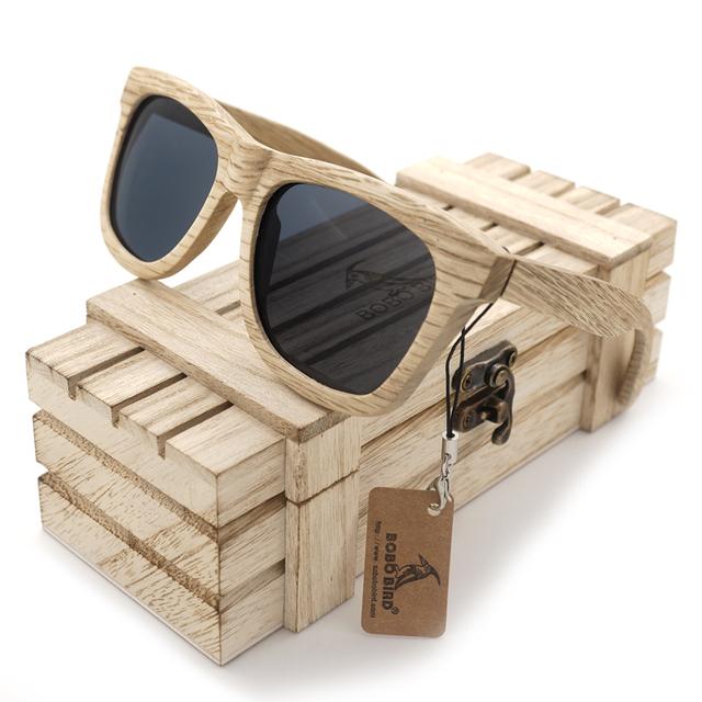 G16 BOBOBIRD Handmad Madeira Óculos De Sol Lentes Polarizadas Cinza Ao Ar Livre Olho-usar Óculos oculos de sol feminino Com Caixa De Madeira 2017
