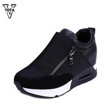 Vtota модная обувь женская повседневная обувь со скрытым каблуком подъеме Женская повседневная обувь с боковой молнией обувь для учащихся XY23