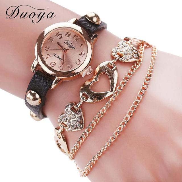 Duoya Luxury Brand Women Bracelet Watch Temperament Ladies Quartz Dress Watches