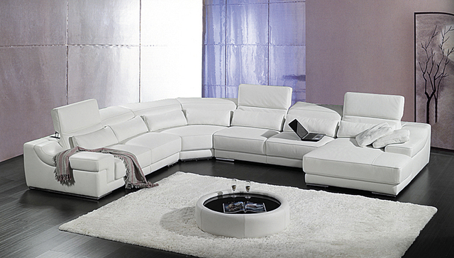 designer modern style top graded cow genuine leather sofa sectional corner living room home furniture free shipping to port