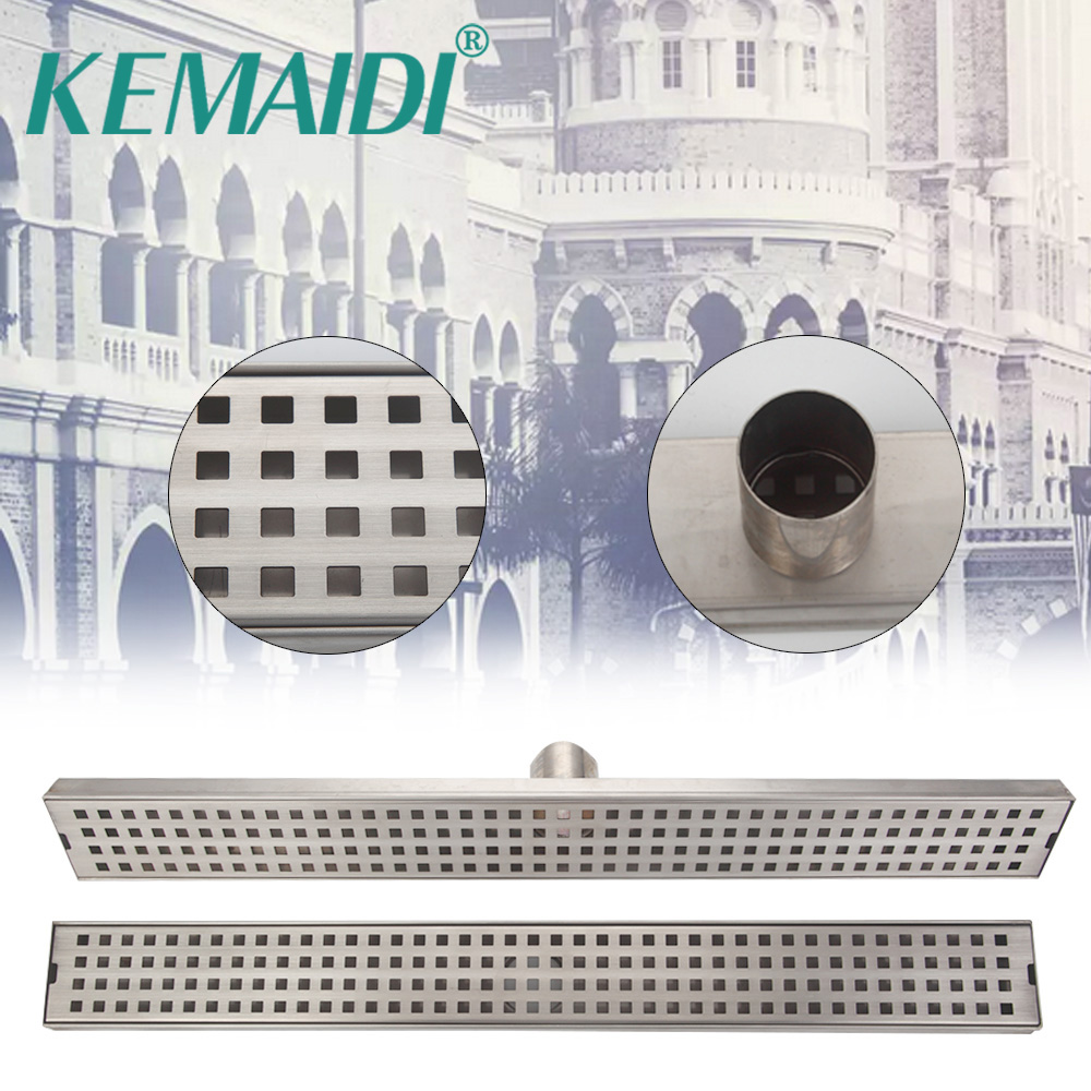 KEMAIDI Free Shipping 24-inch Linear Shower Drain Channel with Flat Grate, 2 Center Outlet,  Stainless Steel  Floor Drains 5667 magnolia 5624 24 inch garage floor broom