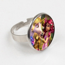 цена на 2019 Mia And Me Glass Gem ring Fairy Anime Picture Round Silver ring Baby Girls Jewelry