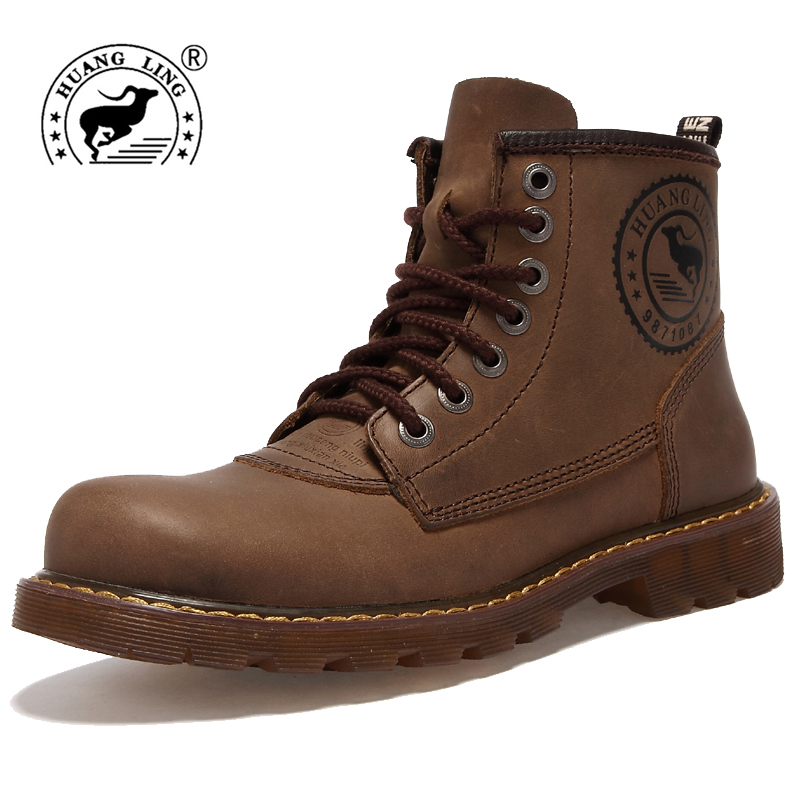 HUANGLING Winter Men boots Genuine Leather outdoor fashion  Martin Motorcycle Snow boots Men Rubber Rain Winter tactical Boots 2015 men fashion martin boots men pu leather winter ankle boots motorcycle winter men boots