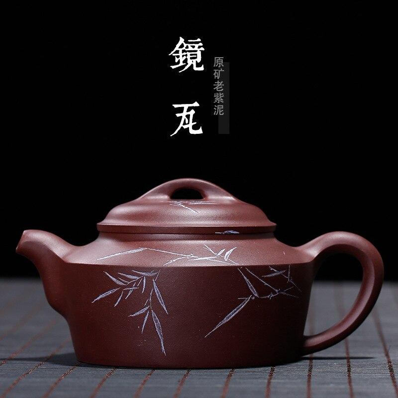 Zishahuyuan Mine Zisha Mirror Tile Pot Bamboo Leaf Carving Zhao Zhidong Wholesale Manual Pot Customized One Substitute