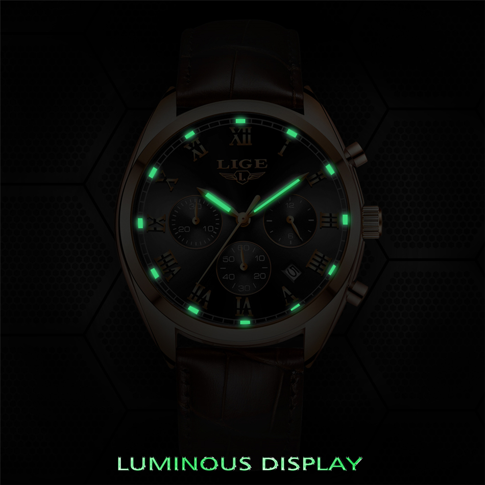 2020 LIGE Mens Watches Top Brand Luxury Waterproof 24 Hour Date Quartz Clock Male Leather Sport Wrist Watch Relogio Masculino