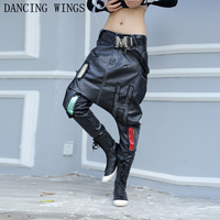 Spring PU Faux Leather Harem Drop Crotch Pants Streetwear Low Waist Casual Trousers for Women
