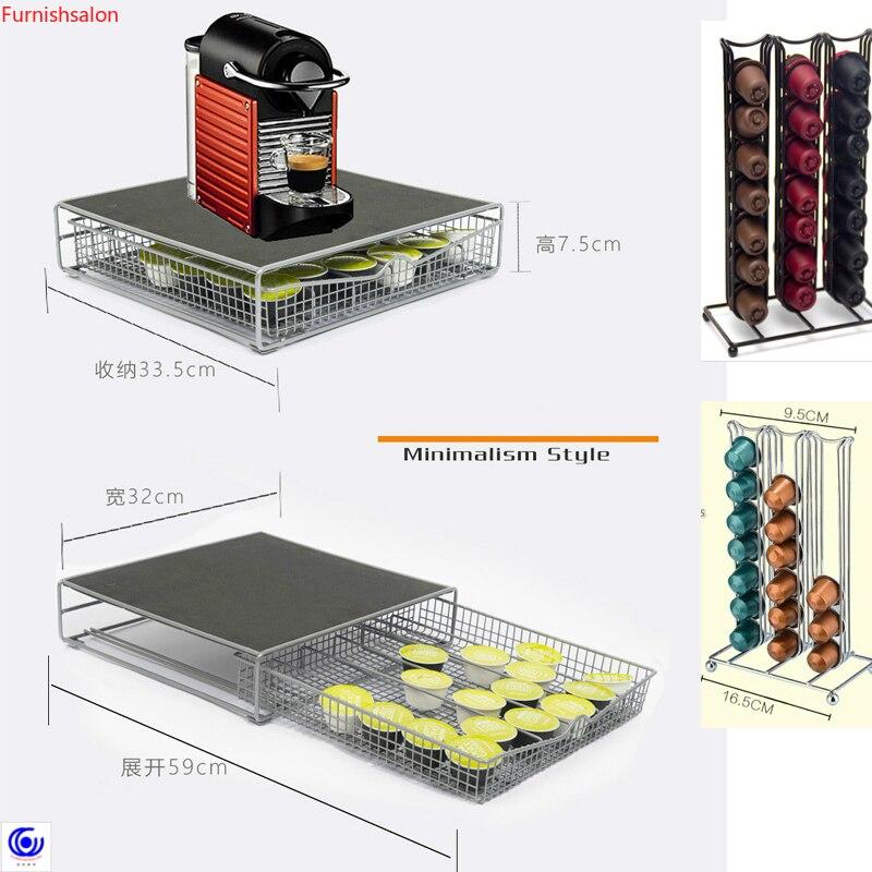 New Coffee 42 Capsules Shelf Capsule Shelves Pod Holder Dispenser Dispensing Tower Stand Storage Rack Cafe Machine Table Set