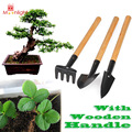BEST 3PCS Mini Garden Shovel Set Plant Tool Set with Wooden Handle Gardening Tool Shovel Rake